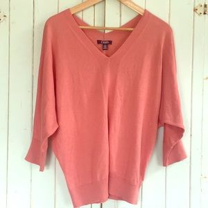 Chaps M Dusty Coral Dolman V Neck Sweater
